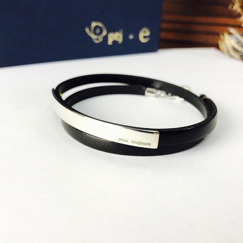 ブレスレット 刻印無料 silver950 イタリアンレザー loop silver950 [メール便可]