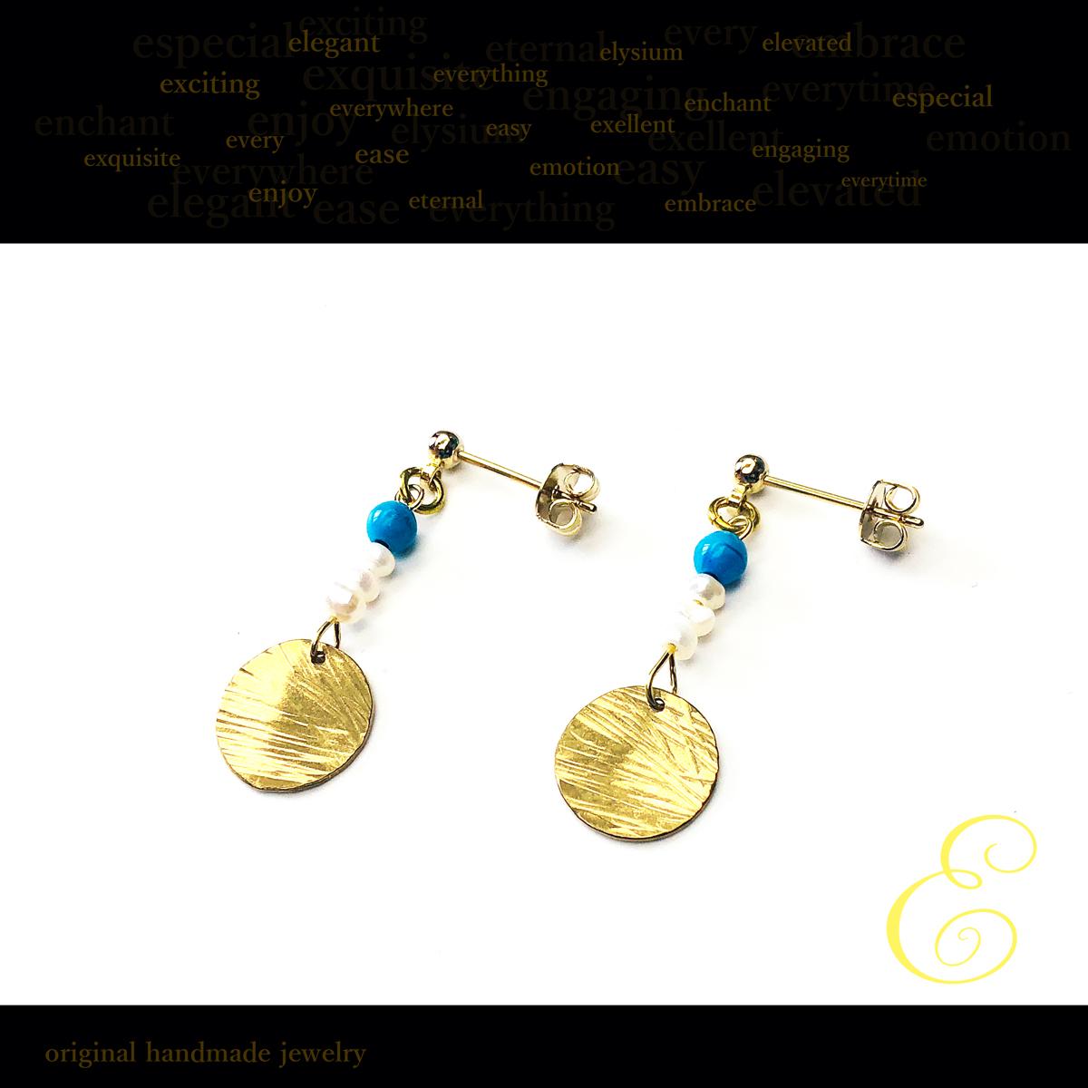 ピアス・イヤリング brass×アクリルビーズ×淡水ケシパール E-pi-0049