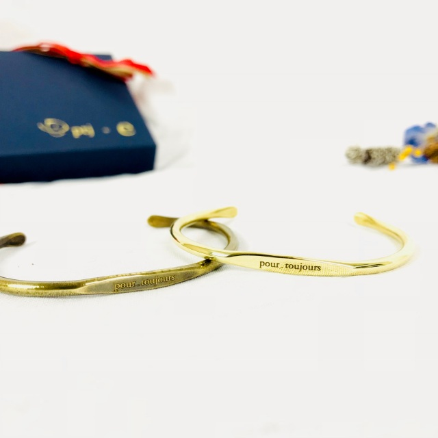 ペアバングル ブレスレット 刻印無料 真鍮 Leaf(リーフ) ペア価格 [メール便可]