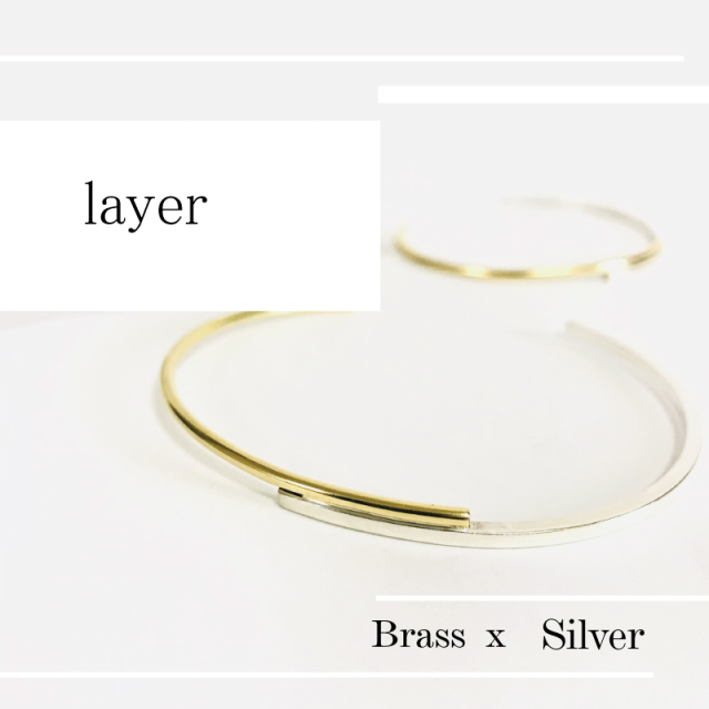 layerバングル 真鍮 x silver950   刻印無料  単品価格 [メール便可]