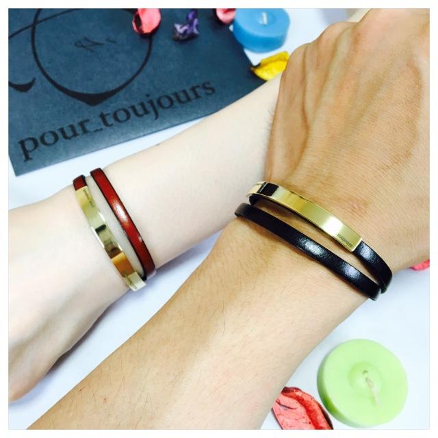 ペアブレスレット 刻印無料 イタリアンレザー 真鍮 loop ブレスレット ペア価格 [メール便可]