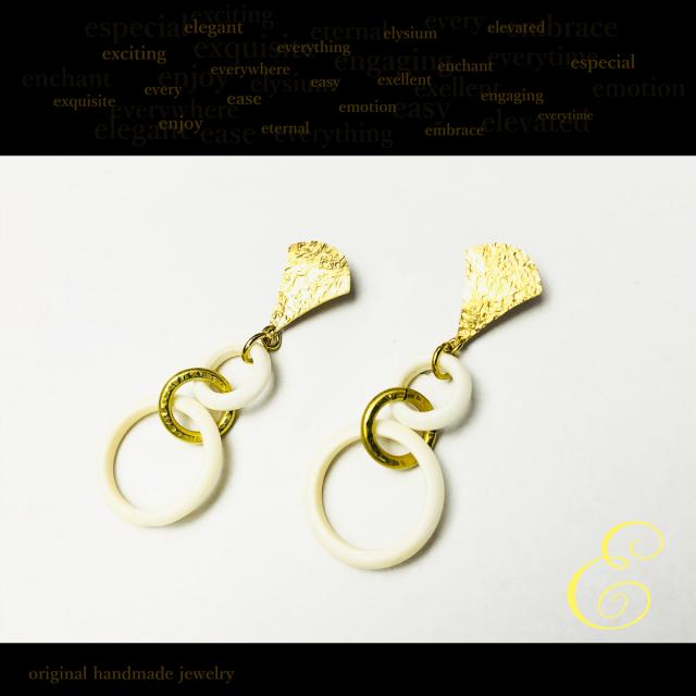 ピアス brass×ボーンビーズ E-pi-0022