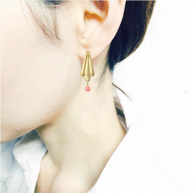 ピアス brass×オレンジコーラル E-pi-0036