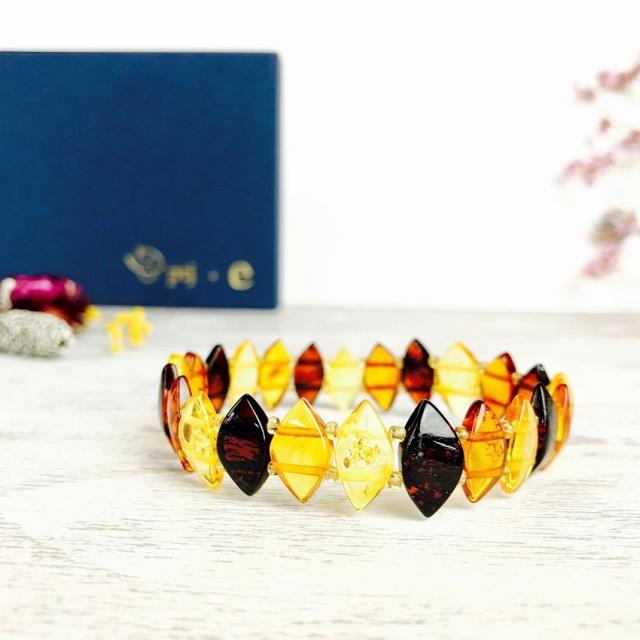 琥珀 アンバー ブレスレット 『Amber oval mix ブレスレット』送料無料  [メール便可]