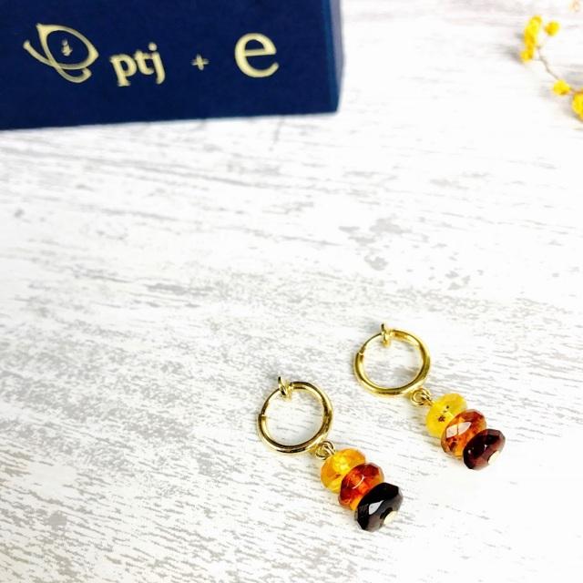 琥珀 アンバー イヤリング フープ『Amber 3color フープイヤリング』 [メール便可]