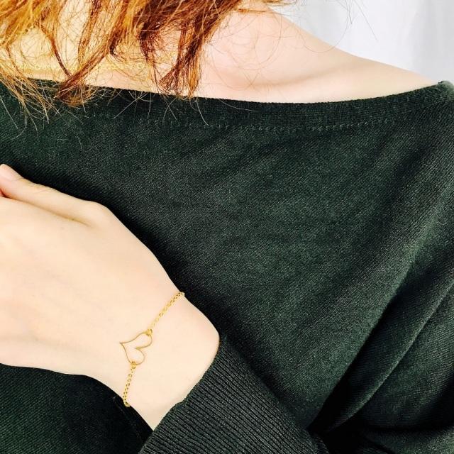 ブレスレット レディース ハート 真鍮 ゴールド 『brass Heart top ブレスレット』 [メール便可]