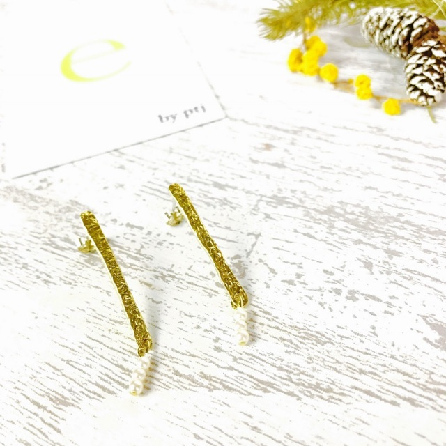 ピアス レディース スタッド 真鍮 sv950ポスト 樹脂パール 『brass stick×樹脂パールピアス』 [メール便可]