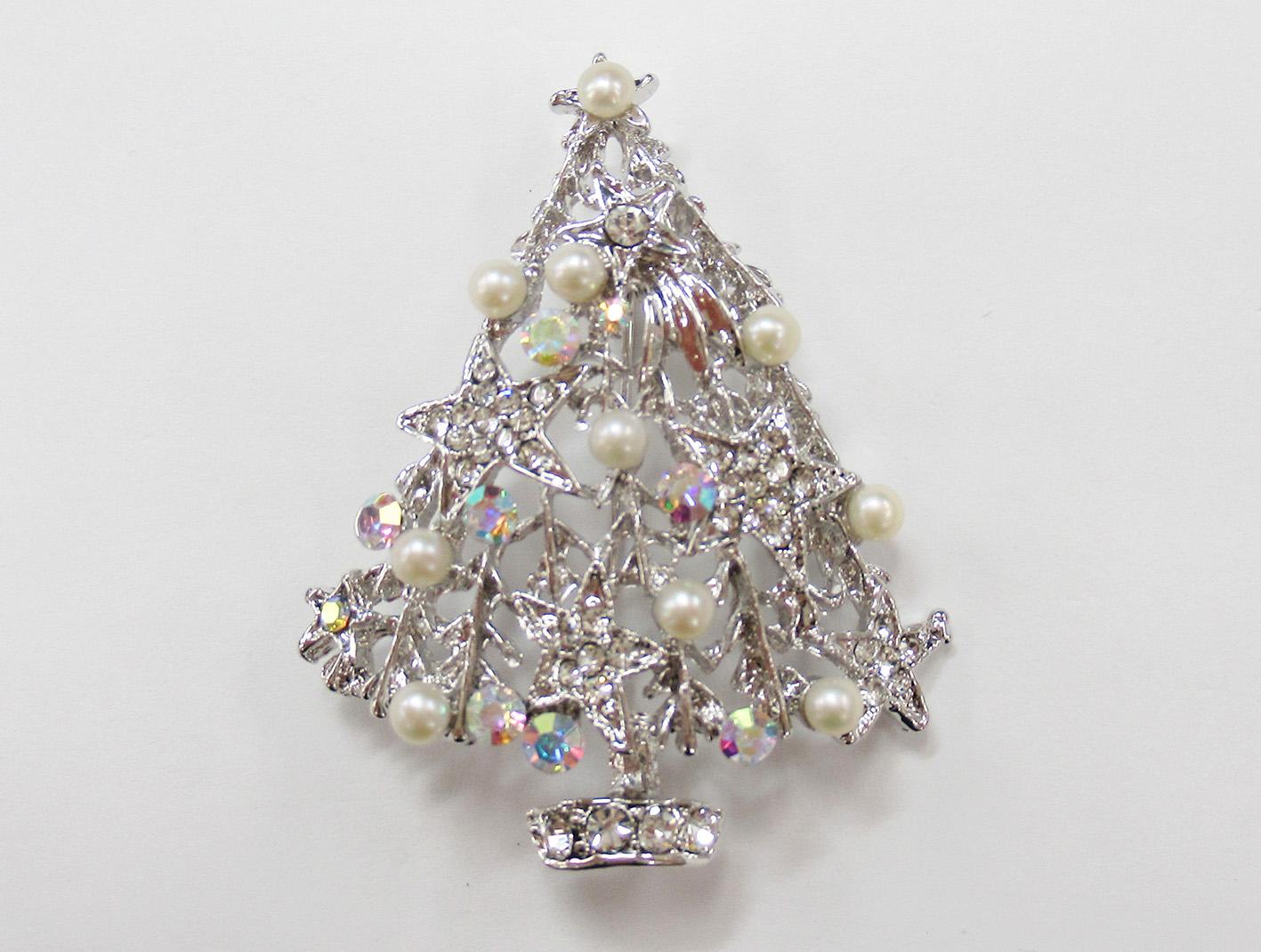 JN 淡水パール クリスマスツリー ブローチ