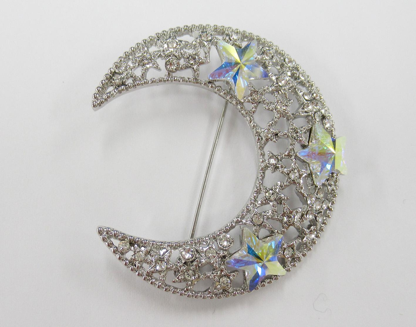 JN クリスタルガラス ムーンクリスタル ブローチ