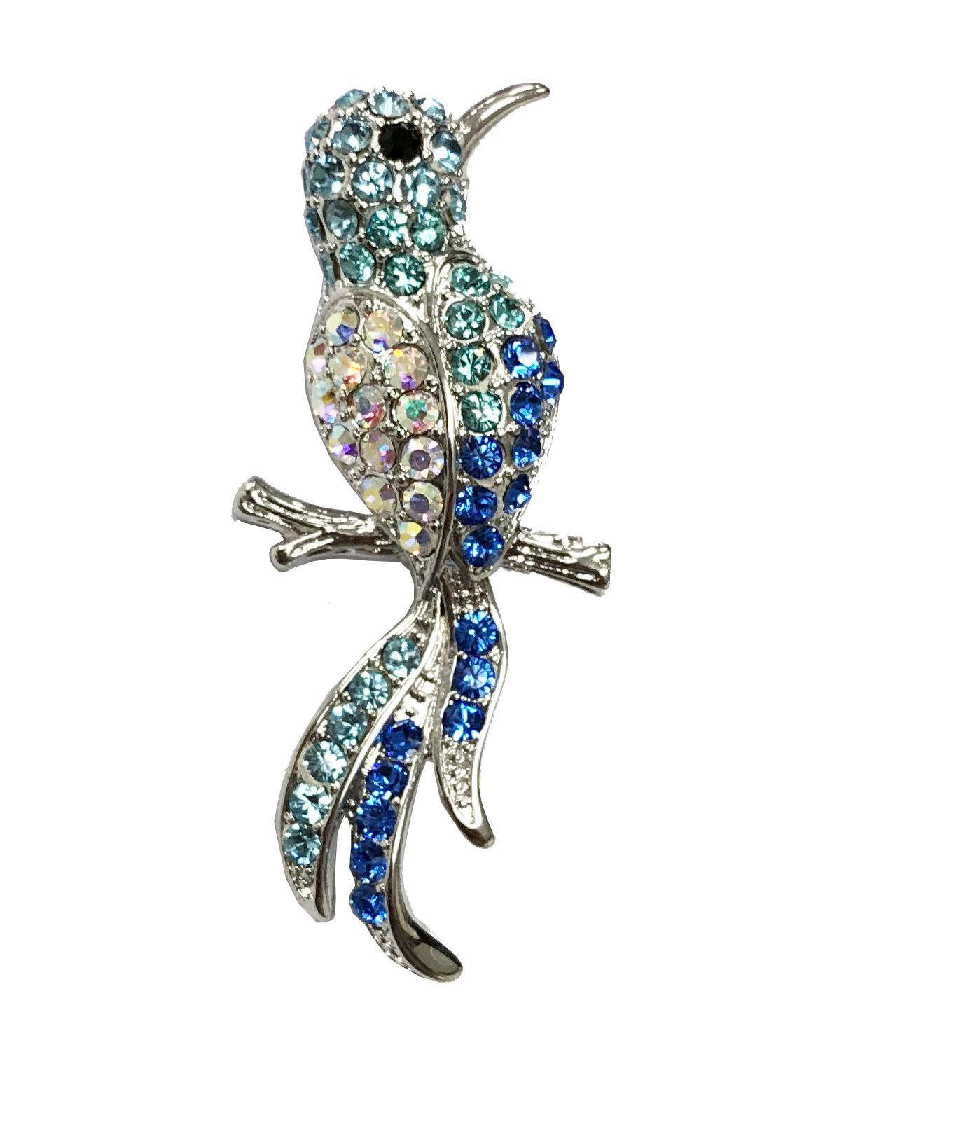 JN クリスタルガラス 幸せの青い鳥 ブローチ