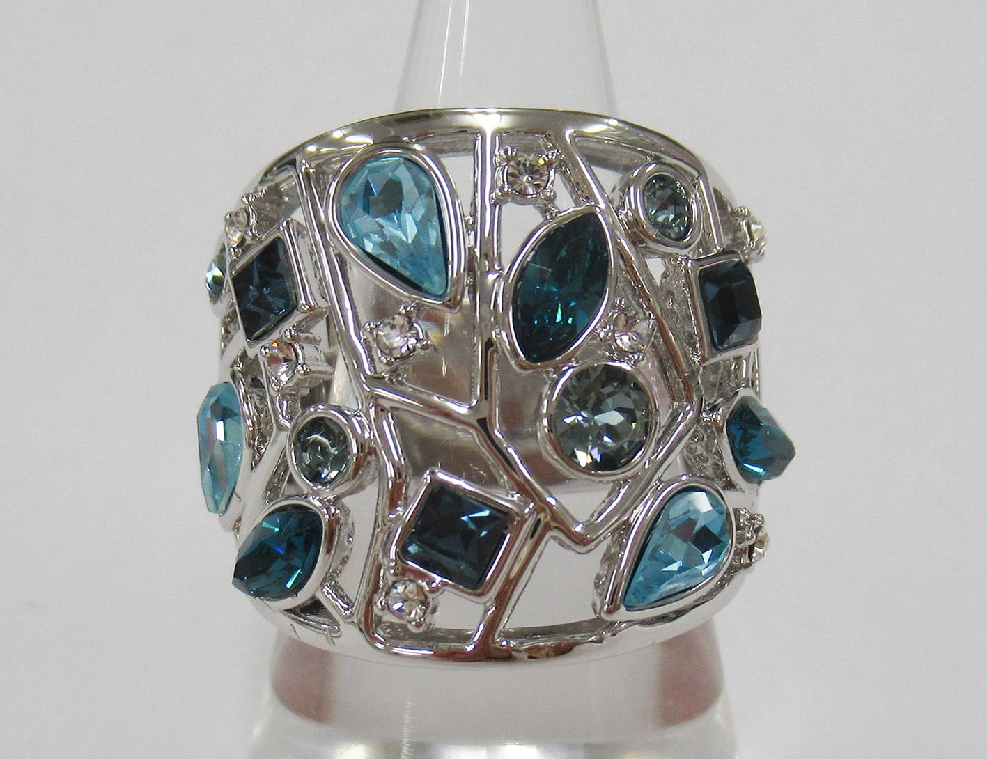 JN クリスタルガラス ブルートーン ワイド リング