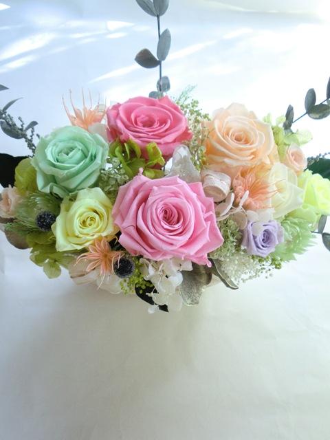 開店祝い退職祝いに【プリザーブドフラワー】シルバーグレーの豪華な花器にエレガントなイエローピンクグリーン