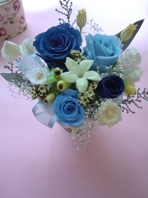 プリザーブドフラワー 】お誕生日に ブルーブルー色が選べる