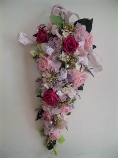 プリザーブドフラワー壁掛け 開店祝い 両親贈呈 退職祝いに最適アゼリアピンクパラソル