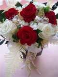 【プリザーブドフラワーギフト】開店祝い還暦祝い等に高級リボンが赤いバラを引き立てるレッドゴージャス紅白の色で華やかに!