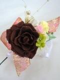 【成人式や結婚式の和装、茶色にレッドリボン 髪飾り】