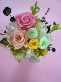プリザーブドフラワー お誕生日に最適な3種ピンク、オレンジ、グリーンイエローナチュラル