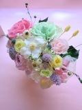 プリザーブドフラワー 結婚祝いピンク&グリーンローズハナミズキ