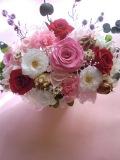 プリザーブドフラワー両親贈呈 退職祝いにハートのリボンが可愛いピンクハートパート2