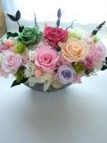 【プリザーブドフラワー】両親贈呈 開店祝い 退職祝いに最適なシルバーグレーの豪華な花器にピンクグリーンアゼリア