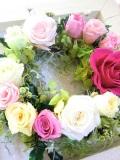 プリザーブドフラワーギフト 両親贈呈 退職祝い 結婚祝い等の贈り物に額入りリース,アゼリア