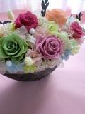【プリザーブドフラワー】 両親贈呈 退職祝いにシルバーグレーの豪華な花器にエレガントなピンクピーチアゼリア2