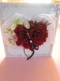 結婚祝いにプリザーブドフラワーキラキラ光る、エレガントローズレッドカーネション