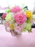 敬老の日 両親贈呈  退職祝いに最適なプリザーブドフラワー 高級ゴールドの花器にピンクイエロー