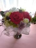プリザーブドフラワーギフト 母の日 結婚祝い等に最適な鮮やかピンクローズメリアルージュL