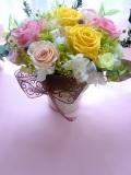 両親贈呈 退職祝いに最適なプリザーブドフラワー高級ゴールドの花器にイエローピンクレッド