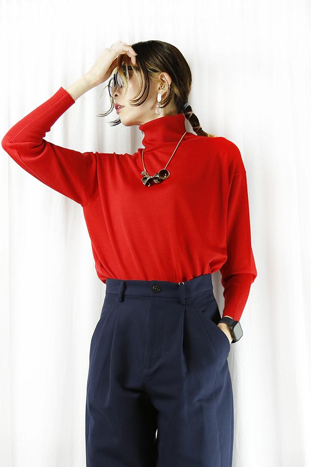 MARGAUX (マルゴー) merino wool back botton turtleneck MGKN-21105-A-red
