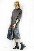 CYNICAL (シニカル)  裾プリーツシャツワンピース  112-95067-77
