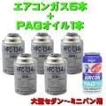 日本製 エアコンガス R134A 交換セット 大型セダン〜ミニバン用 ( 134aガス200g缶 5本+PAGコンプレッサーオイル入ガス 50g 1本) カークーラーガス