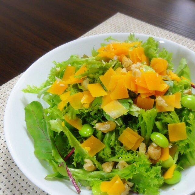 ミモレット オレンジ色 からすみ味 固いチーズ スライス サラダ チーズレシピ 枝豆 ナッツ クルミ