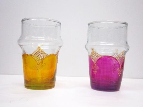 [モロッコ雑貨][モロッコリサイクルグラス]【モロッコ ペイントリサイクルグラス M 3】