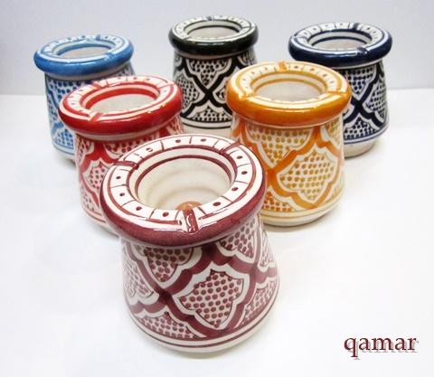 【モロッコ セラミックアシュトレイ T 】手書きの陶製灰皿