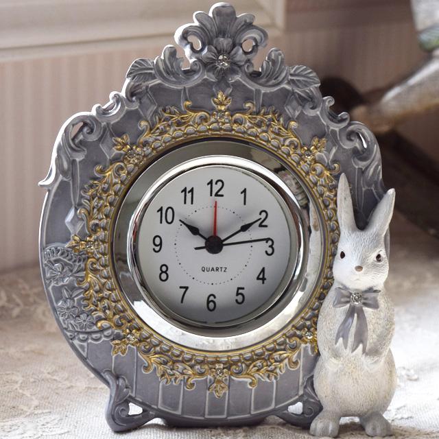 ロココクラシック うさぎの置き時計
