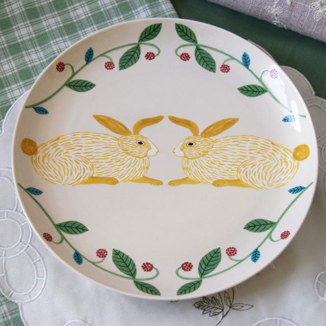 南欧風うさぎのプレート皿