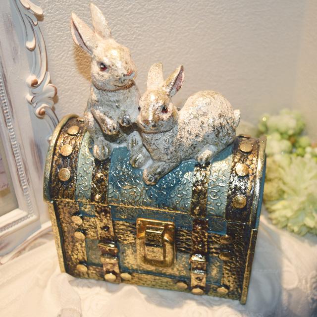アンティーク調◆迷宮の 2羽のうさぎが守る小箱 小物入れ