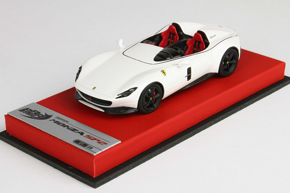 BBRC221ST Ferrari Monza SP2 2018 Fuji White /Black wheels (Schedoni Red Leather Base) Limited 28pcs