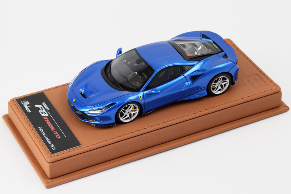 BBR Deluxe C224BDL Ferrari F8 Tributo Geneve 2019 Blu Corsa (Cuneo Leather Base) Limited 21pcs