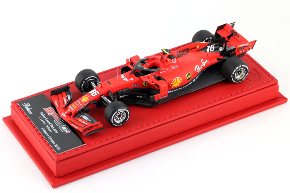 BBR Deluxe C234ADL Ferrari SF90 Italy GP Monza 2019 C.Leclerc Winner (Red Leather Base)