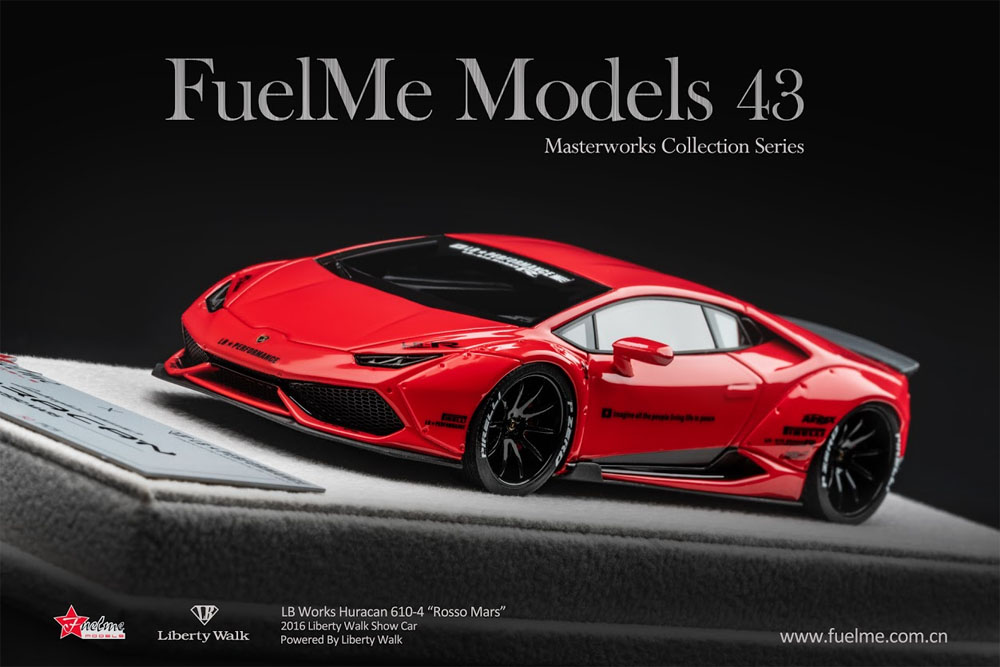 Fuelme Models FM43001LM-G 1/43 Liberty Walk LB WORKS Huracan Rosso Mars (Duck Tail) Limited 50pcs