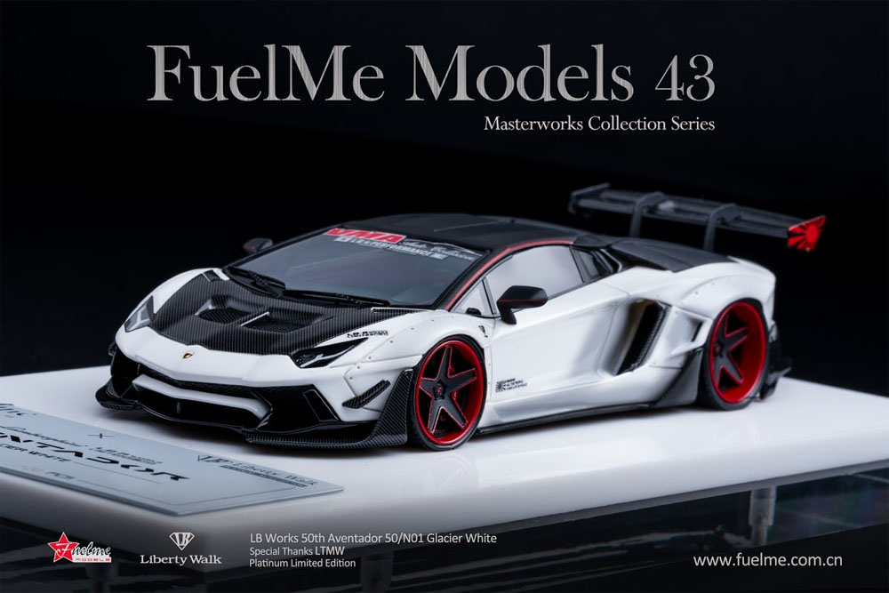 Fuelme Models FM4307-50LE-WN01 1/43 Liberty Walk LB Works Aventador Roadster 50th Limited edition Glacier White