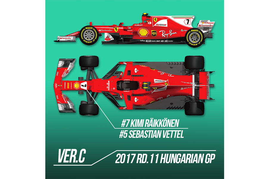 HIRO K623 1/12 フェラーリ SF70-H Ver.C 2017 Rd.11 Hungarian GP