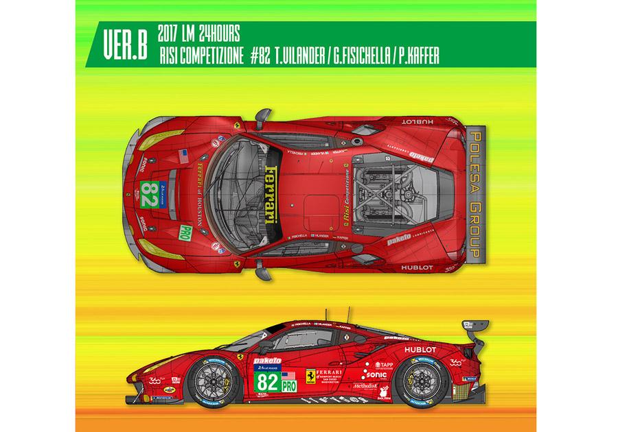 HIRO K630 1/24 フェラーリ 488GTE Ver.B 2017 LM Risi Competizione #82