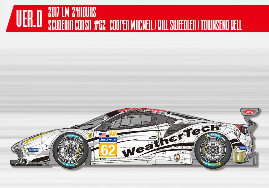 【お取り寄せ商品】 HIRO K646 1/24 フェラーリ 488GTE Ver.D 2017 LM Scuderia Corsa #62