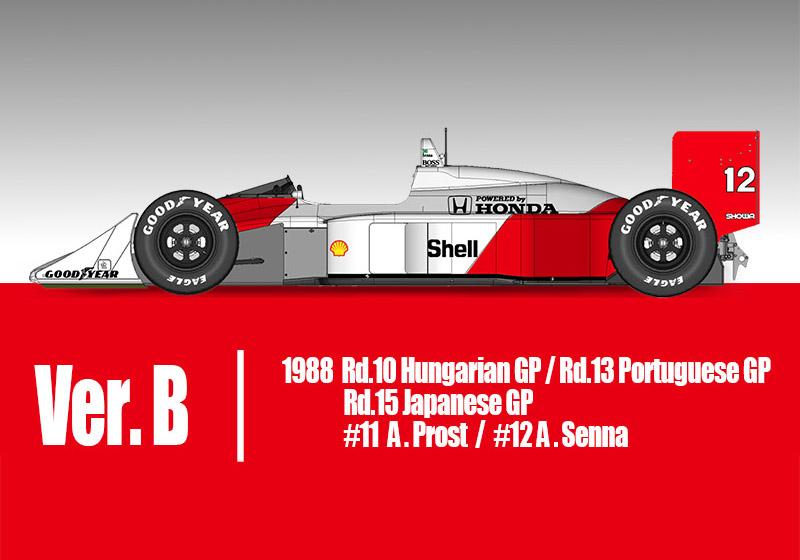 HIRO K708 1/20 McLaren Honda MP4/4 1988 Ver.B Late Type #11 A.Prost / #12 A.Senna