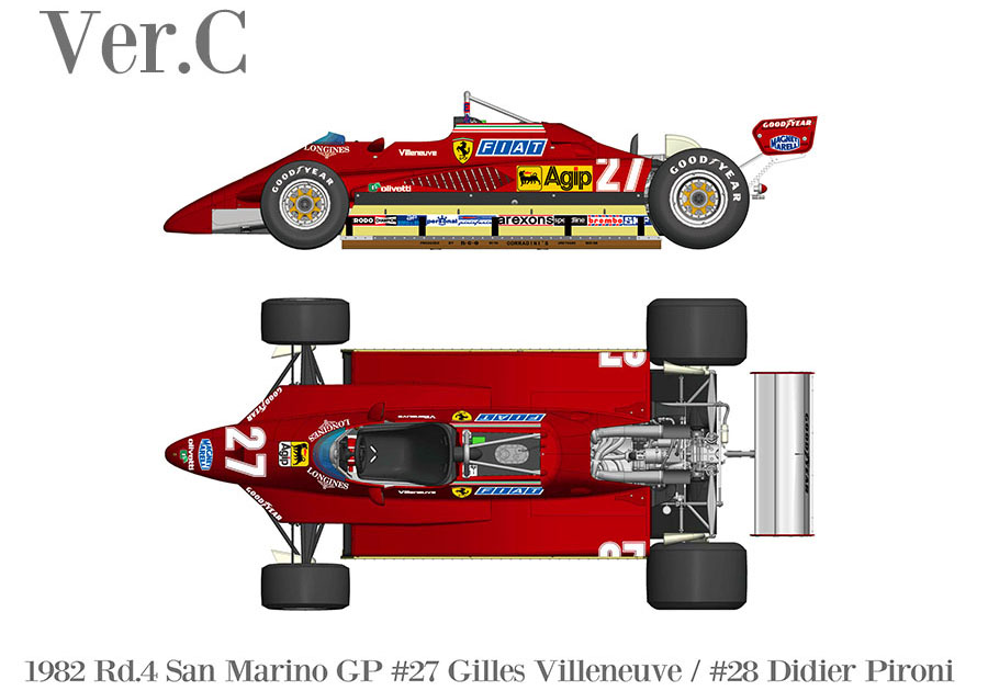 HIRO K767 1/43 Ferrari 126C2 Ver.C 1982 Rd.4 San Marino GP #27 G.Villeneuve / #28 D.Pironi