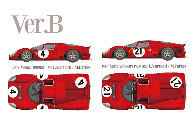 HIRO K792 1/43 Ferrari 330P4 Berlinetta Ver.B 1967 Monza 1000km #4 / LM #21